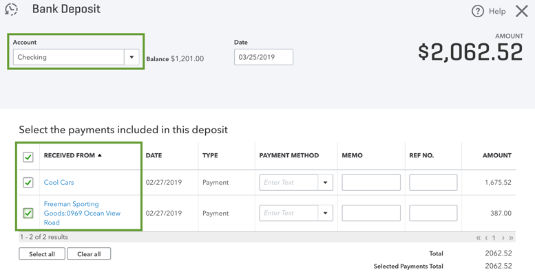 This shows the bank deposit screen with the invoice payments and sales receipts in undeposited funds as selectable options.