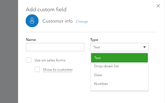 This shows the basic custom field creation screen and the drop down options you can choose from: text, drop-down list, date, or number.
