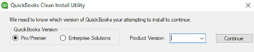 This image shows the product version and QuickBooks version selection screen before you run the Clean Install Tool.