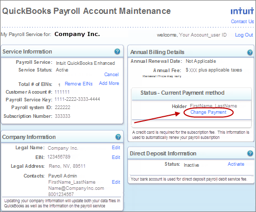 change payment method in QuickBooks Payroll account maintenance