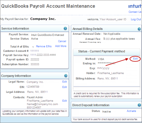 change credit card payment method in QuickBooks Payroll account maintenance
