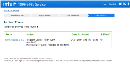 Intuit 1099 E-File service view past forms and submissions