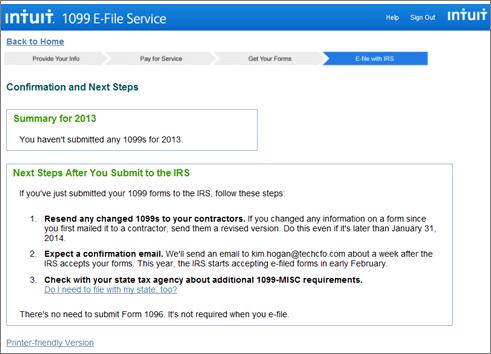 Intuit 1099 E-File service check status