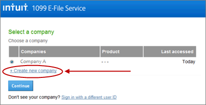 Intuit 1099 E-File service create a second company page