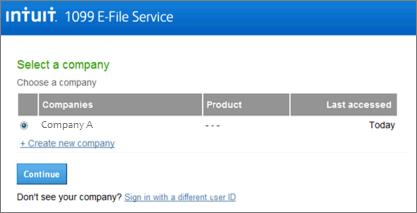 Intuit 1099 E-File service select company page