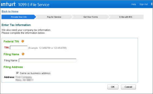 Intuit 1099 E-File Service verify company tax information page
