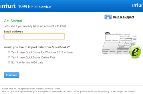 Intuit 1099 E-File Service Get Started page