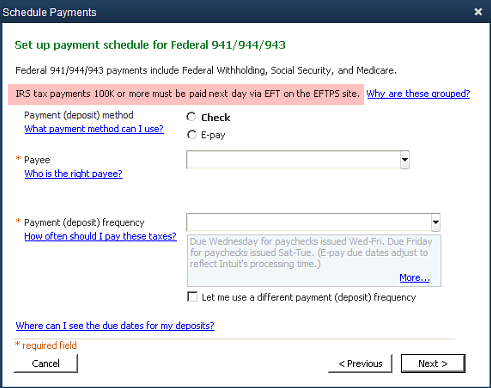 Set up payment schedule for federal 941 944 and 943 in QuickBooks Payroll Center