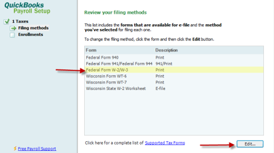 Select w2 and w3 filing methods in QuickBooks Desktop Payroll Setup
