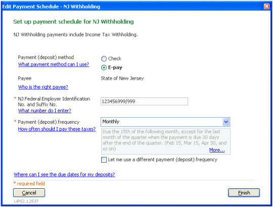 Select E-Pay payment method for state tax payment in QuickBooks Desktop Payroll