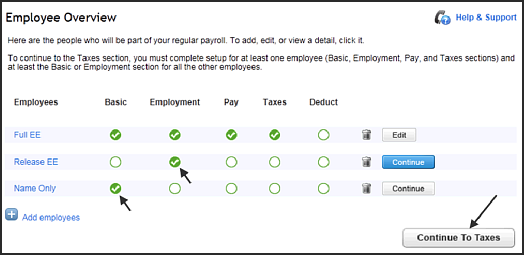 Employee overview screen in QuickBooks Online,