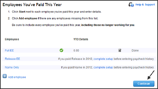 Employees you've paid this year overview screen in QuickBooks Online
