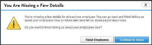 You are missing a few details warning screen in QuickBooks Online employee overview