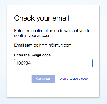 enter 6 digit confirmation code to log in to QuickBooks My Account
