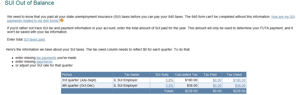 Sui Out Of Balance Page Appears When Trying To Pay Futa Taxes An