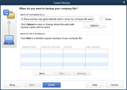 Create new company backup file menu in QuickBooks