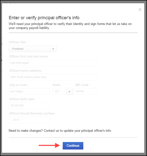 Enter or verify principal officer's information in QuickBooks
