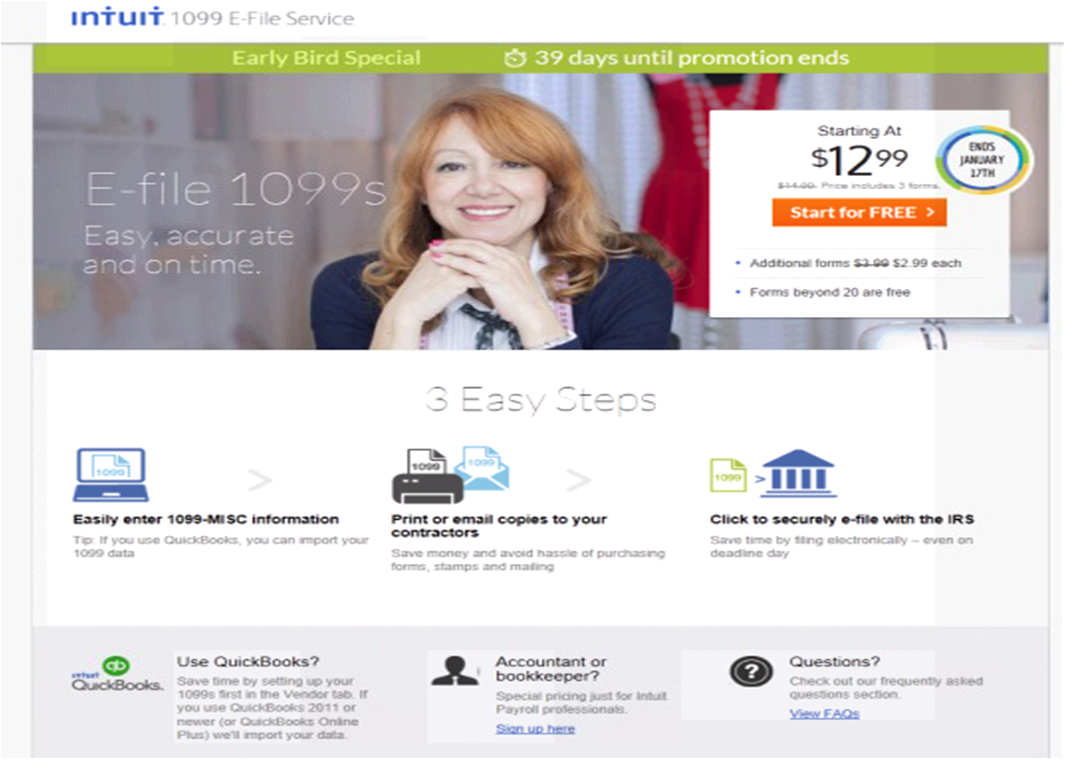 Intuit QuickBooks 1099 E-File Service early bird page