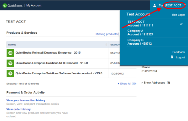 view companies in manage your QuickBooks page