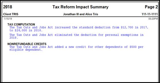 Tax Reform Impact Summary - Page 2