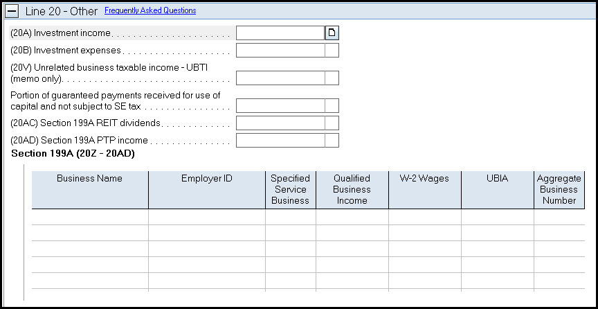 Lacerte Simplified Worksheet Section 199A - Qualified