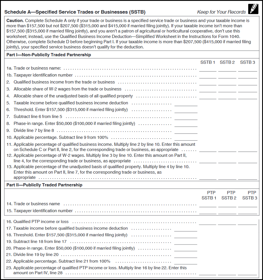 199A Complex Worksheet Schedule A