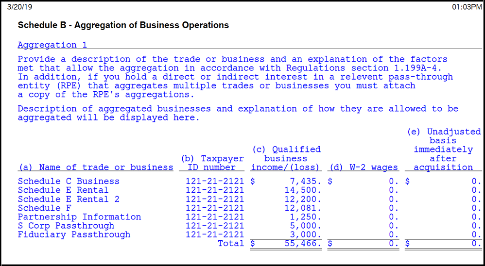 Image of Lacerte Individual Worksheet - Schedule B - Aggregation of Business Operations