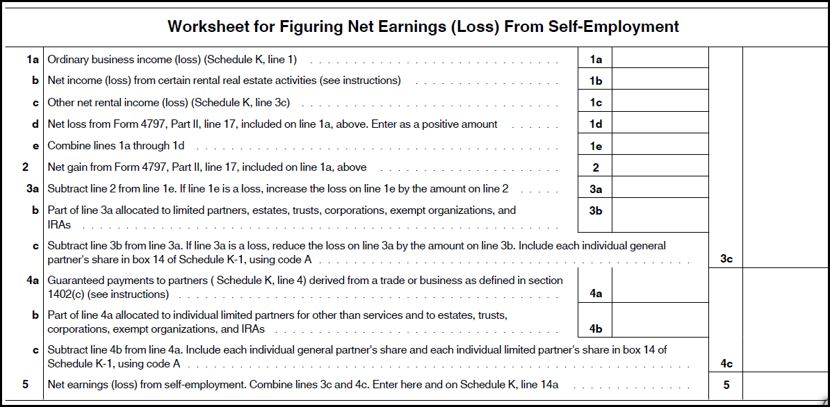 form 1065 net earnings from self employment  Partnership Schedule K Line 11a Calculating Self-E... - Tax ...