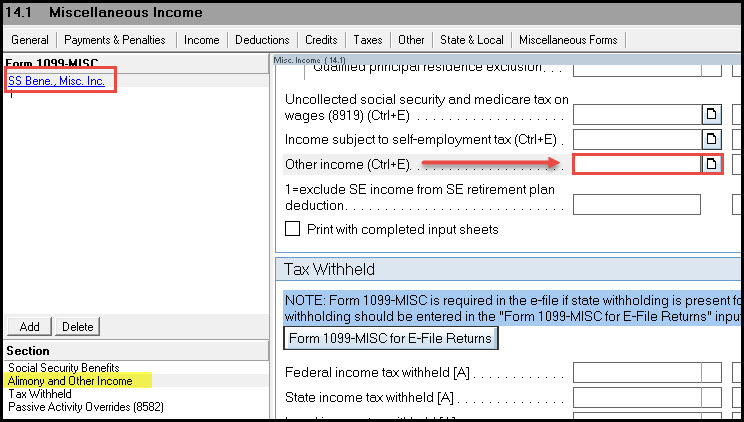 Entering Amounts from a Form 1099-MISC in the Individual