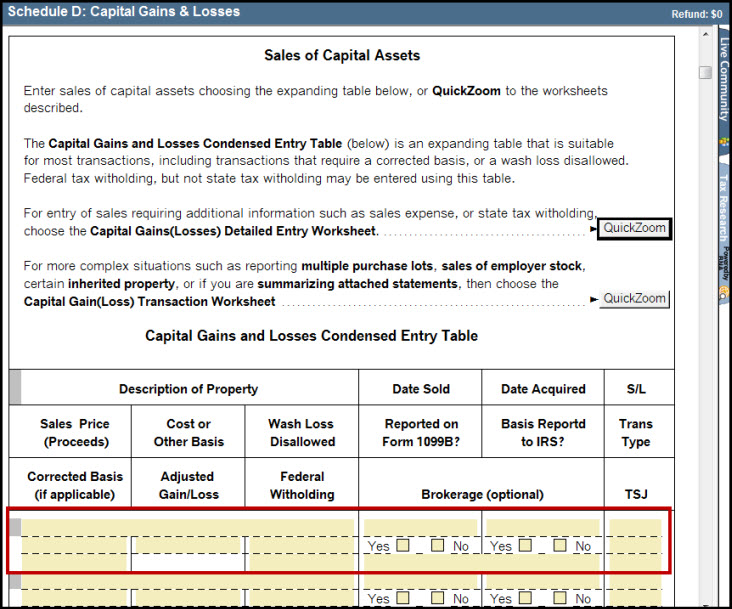 Schedule D Capital Gains and Losses Smart Worksheet - Sales