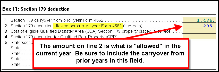 Form 4562 Line 12 - The total allowable Section 179 does not