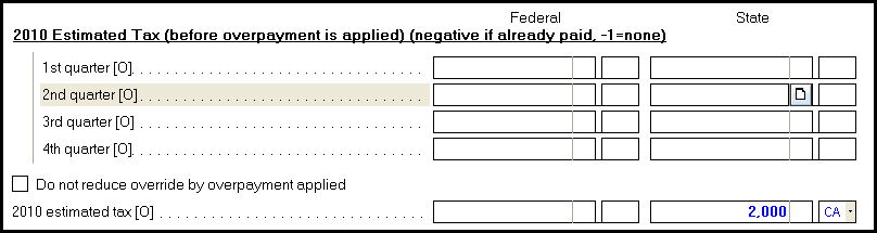 Generating California Form 540-ES - Estimated Tax Vouchers