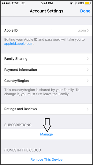 Manage subscriptions in iOS settings