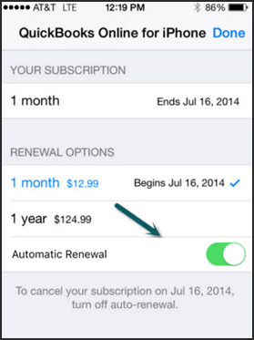 Turn off QuickBooks subscriptions in iOS subscription settings