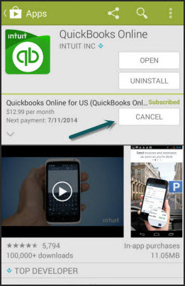 Cancel QuickBooks Online in Google Play Store""
