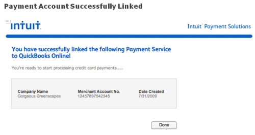 link payment merchant service to QuickBooks Online success screen