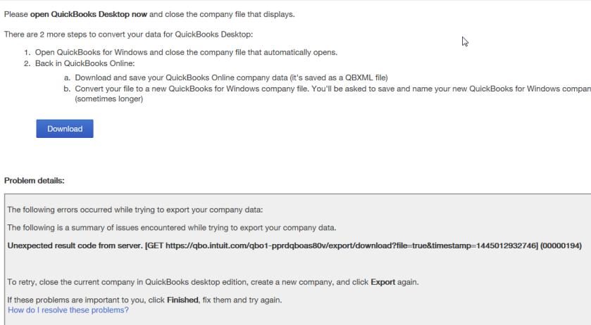 Server error message when exporting QuickBooks Online data to QuickBooks Desktop