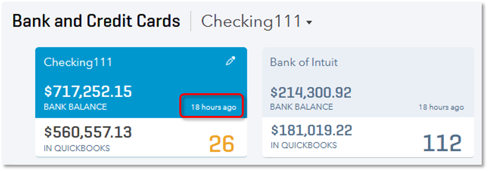 View time of most recent automatic updates in QuickBooks Online