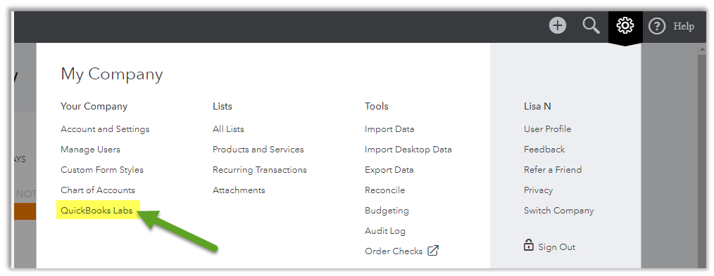 select QuickBooks lab from My Company drop down menu