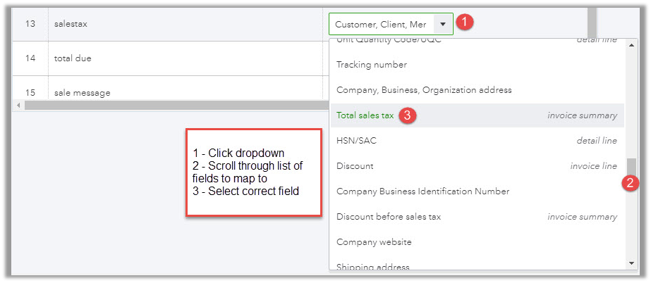 Change mapping of marked areas in QuickBooks data fields