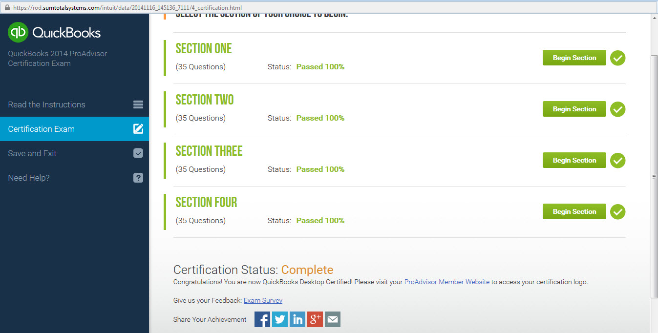 Proadvisor Certification Center Does Not Show A Completed Exam O