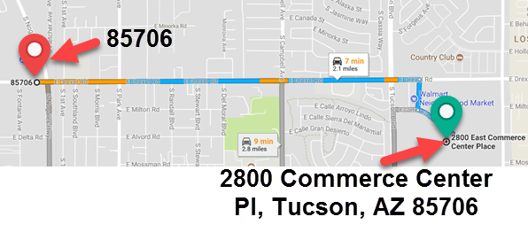 The distance from the center of a zip code to the address within the zip code