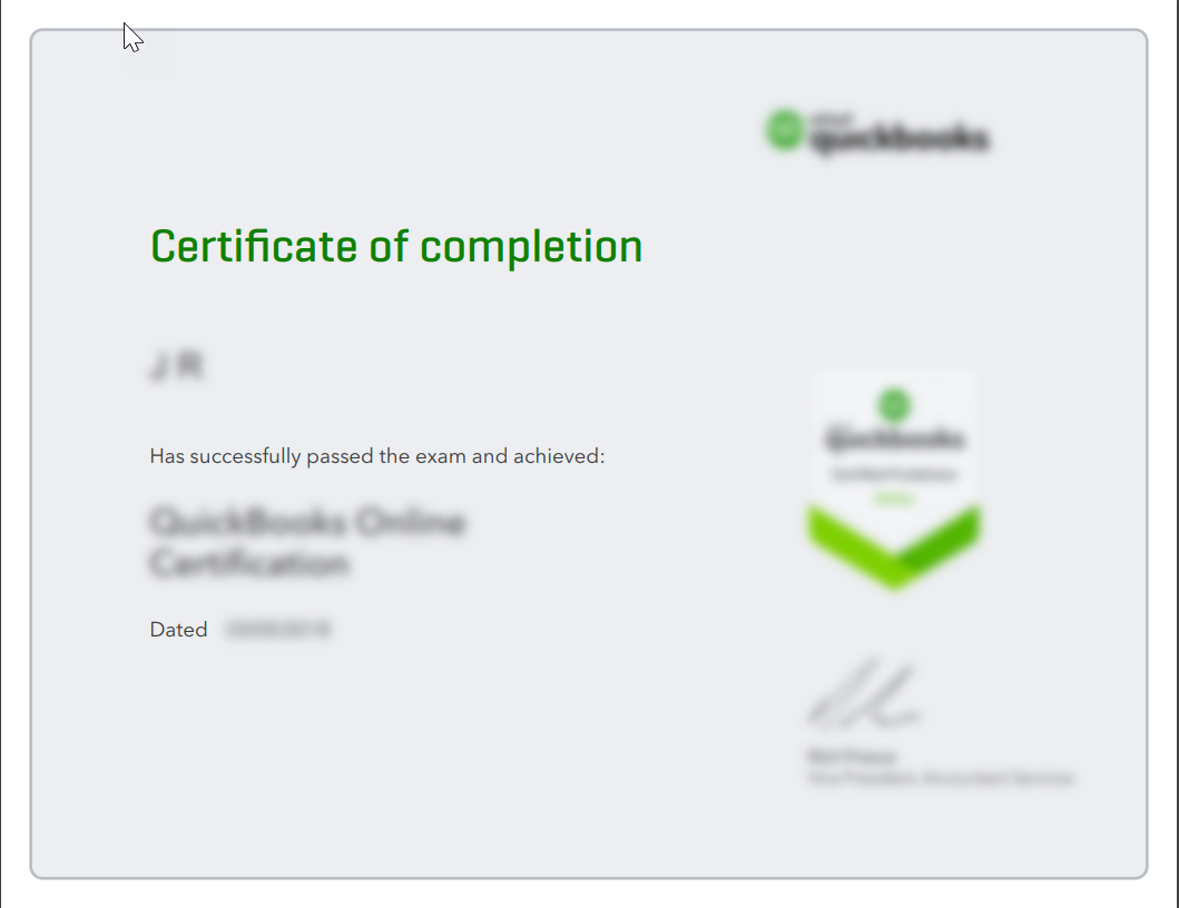 Exam certificate for QuickBooks Online Accountant