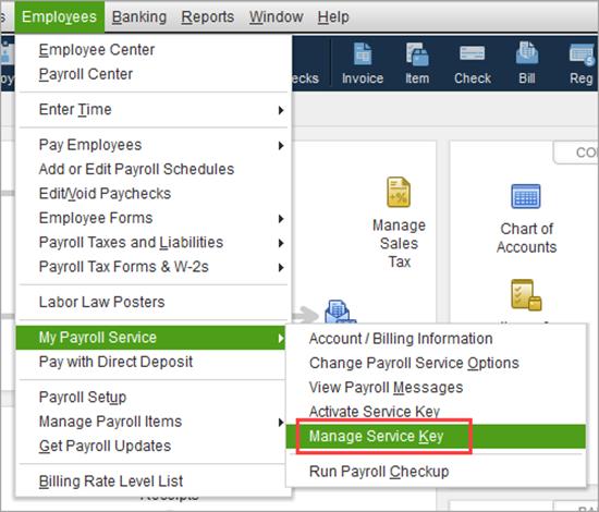manage service key in QuickBooks Desktop