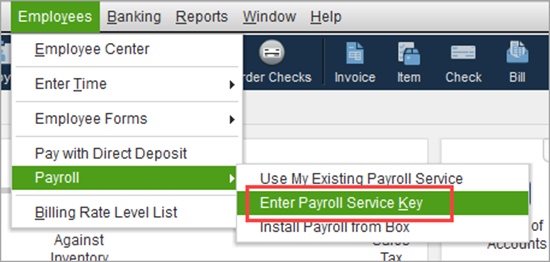 Enter payroll service key in QuickBooks Desktop