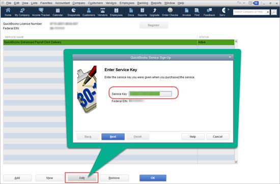 Add new payroll service key in QuickBooks Desktop