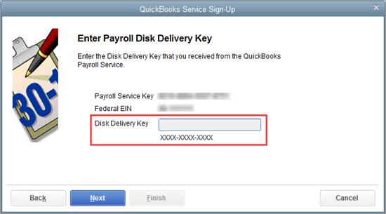 Add new service key in QuickBooks Desktop