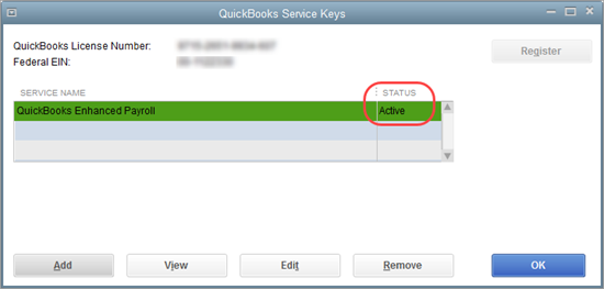 Enter service key in QuickBooks Service Sign-Up window