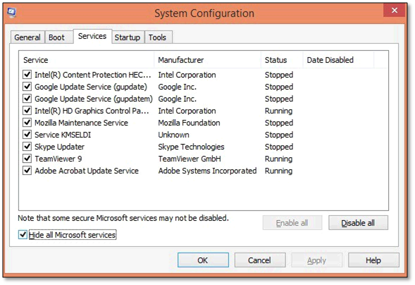 example of Disable all in System Configuration