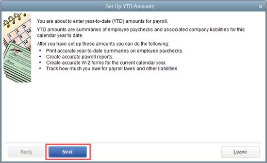 Set up YTD amounts in QuickBooks Payroll setup